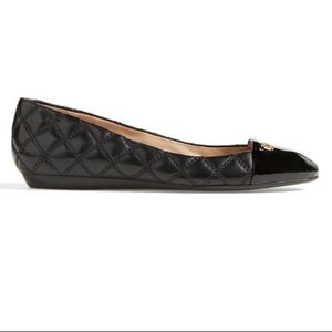 NEW Tory Burch Claremont Quilted Black Flats Sz 6